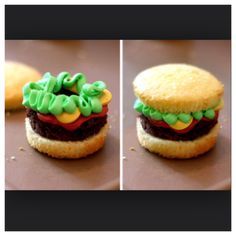 Hamburger Cupcakes! Super Easy!!Cut yellow cupcake in halfCut out same sized brownieSqueeze yellow, green, and red icing onto brownie