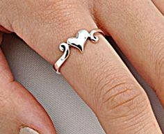 .925 Sterling Silver Ring size 10 Heart Thumb Knuckle Midi Love Ladies New p78 #Unbranded #Band