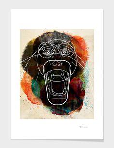 """monkey"" - Art Print - Alvaro Tapia Hidalgo | Curioos | The Digital Art Factory | Limited Edition Prints, Art Skins & Accessories"