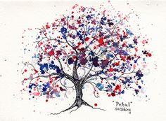 Petal, Tree, 5 x 7, Original watercolor and ink illustration