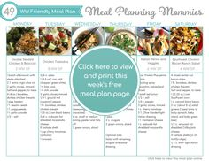 WW FreeStyle Friendly Meal Plan #49 - Meal Planning Mommies Weight Watchers Meal Plans, Weight Watchers Breakfast, Weight Watchers Smart Points, Weight Watchers Desserts, Meal Prep Plans, Free Meal Plans, Goat Cheese Pizza, Chicken Tostadas, Southwest Chicken