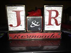 Personalized family initials last name wedding anniversary primitive wood block set home decor wedding birthday anniversary gift on Etsy, $22.95