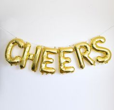 This set of 6 balloons spelling the word CHEERS are a great option for a wedding, baby shower, bridal showes ect. The balloons are also great to be used as photo props and backdrops! .Balloons are to be filled with air not helium as they will not float This listing is for 6 piece set of GOLD foil balloons, size 16 tall. It also comes in silver.