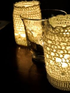 crocheted candle holder covers