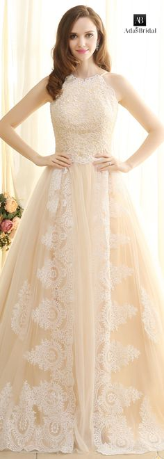 Glamorous tulle halter neckline A-line wedding dresses with lace appliques(WWD78485)