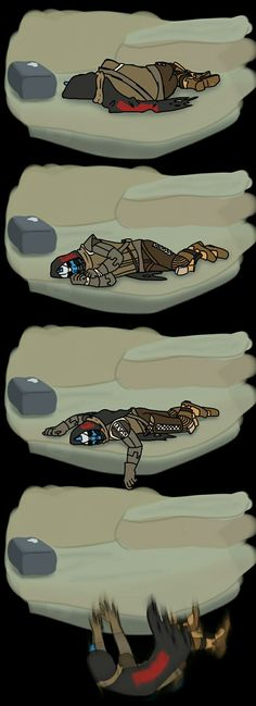 Cayde falling off a cliff in his sleep