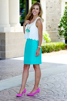 Crisp pencil skirt with scallop top and a turquoise tassel necklace
