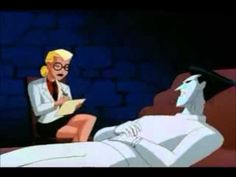 The Joker seduces Dr. Harleen Quinzel, a new worker at Arkum Asylum, by creating a false sense of pathos From 'Mad Love', which is from 'The New Batman Adven...