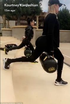 All the right moves: On Saturday, Kourtney and sister Khloe Kardashian enjoyed a grueling workout with their personal trainer