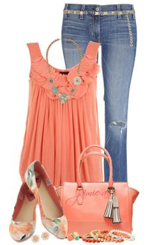 Peach colored tank top,floral necklace,slightly ripped skinny jeans,peach purse, and high heels