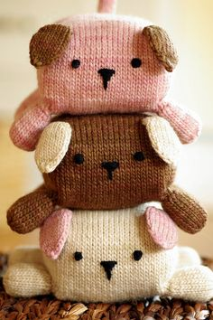 Stackable pups pattern by Kathryn Ivy Knitting For Kids, Knitting Projects, Baby Knitting, Crochet Projects, Knitting Patterns, Sewing Projects, Crochet Patterns, Knitting Toys, Crochet Amigurumi