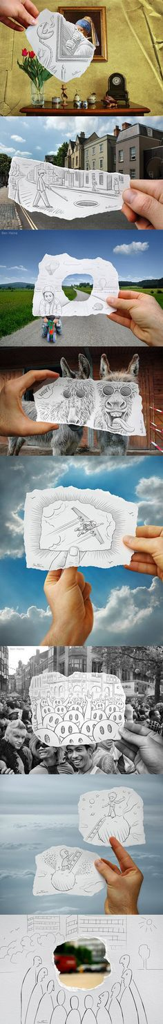 Desenhos que complementam a vida real - Funny Sketching Reality Street Art, Jolie Photo, Cute Drawings, Awesome Drawings, Art Plastique, Art Photography, Photography Articles, Photography Backdrops, Newborn Photography