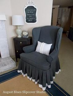Wingback Slipcover with Pleated Skirt by August Blues