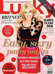Britney Spears tragically wears a lace front wig on the cover of Lucky magazine's December 2012 issue.