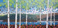 """Birches"" (right panel)  Glass, stone and ceramic tile mosaic  32""h x 60""w  The Mayo Clinic - Rochester, MN    ©Michael Sweere - All Rights Reserved"