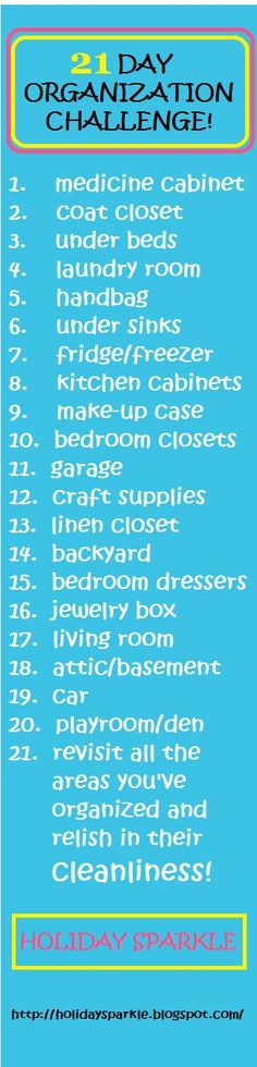 Winter Clean-Up Challenge!!! Organize your entire home by cleaning ONE small section a day for the next 21 days!!!