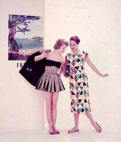 1955 models. Beachwear and Harliquin dress.