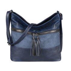 kleine Leder Damentasche schwarz 1 RV-Rückfach 2 RV-Fächer Seitentasche