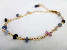 Sophisticated Sapphire bracelet,Gold bracelet,Delicate Genuine Sapphire bracelet,Delicate Gold filled bracelet,September birthstone bracelet by IgnisDesignStudio on Etsy