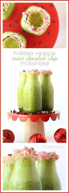 Hidden Veggie Mint Chocolate Chip Milkshake | Easy milkshake recipe, kid-approved! Sneak in extra veggies too for a delicious holiday drink (AD) Raising Whasians