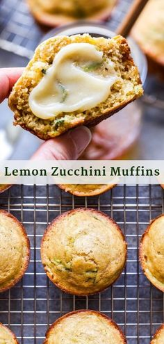 Lemon Zucchini Muffins are the perfect use for your garden fresh zucchini! Wholesome and tender with just the right amount of bright lemon flavor. Top them with honey butter for a tasty weekend breakfast! #muffins #lemon #zucchini #zucchinimuffins #breakfast #brunch