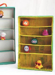 Upcycled Shoe Box Play Shelves