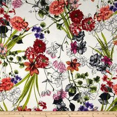 Misty Stretch ITY Slub Jersey Knit Floral Red/Multi from @fabricdotcom  This lightweight ITY jersey knit has a smooth hand, slub texture, fluid drape and four way stretch. With 50% stretch across the grain and 25% vertical stretch, it is perfect for creating stylish tops, skirts and dresses, especially wrap dresses, tops, dancewear and much more! It is also great for travel since it does not wrinkle easily. Colors include red, orange, purple, green, black and an ivory background.