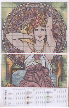 0 point de croix femme art nouveau lady - cross stitch