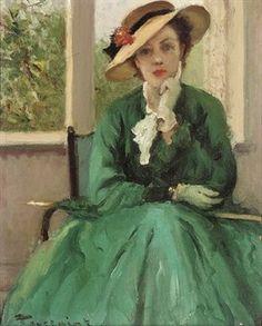 Fernand Toussaint (Belgian artist, 1873-1955) The Green Dress and Parasol
