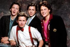 """Andrew McCarthy, Emilio Estevez, Judd Nelson and Rob Lowe (from """"St. Elmo's Fire"""" - 1985)"""
