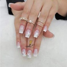 The wedding manicure - the beauty of the bride is in the smallest details - My Nails Acrylic French Manicure, French Nails, Acrylic Nails, French Manicures, Blue Nails, Nail Pink, Holiday Nails, Manicure And Pedicure, Winter Nails