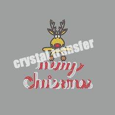Rhinestone Heat Transfers Merry Christmas with deer clothing rhinestone