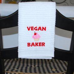 Vegan Baker Cupcake Kitchen Towel by FabulouslyFierce on Etsy, $11.00