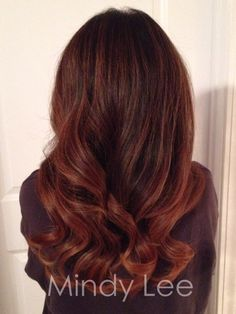 Rich auburn Balayage for the autumn season  by Mindy Lee