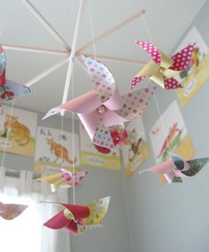 pinwheel baby mobile - (colorful pinwheels would be super cute hung around the house for M's party)