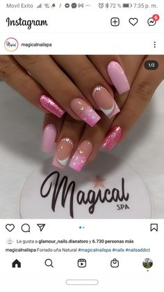 Pink Glitter Nails, Swag Nails, Beauty Nails, Manicure, Fashion, Encapsulated Nails, Sour Cream, Amor, Frases