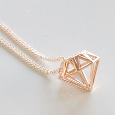 Gold Diamond 3D necklace  | ♡ Pinterest :  @1kco0zwe8r4mzzk