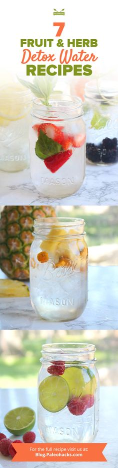 Stay hydrated and revitalized with these detox water elixirs. These fresh fruits and herbs release their flavor and vitamins into water for a boost of antioxidants benefits. Get the recipes here: http://paleo.co/detoxwaterrcps