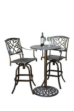 Santa Maria Cast Aluminum Brown Bistro Bar 3-Piece Set