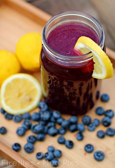 Imagine the combination of fresh lemons and simmering blueberry syrup flavoring the air of your home. You'll love the unique taste of this bright summer drink, loaded with vitamins and antioxidents to refresh, energize, and nourish your body.