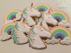 36 Ideas For Cupcakes Originales Unicornio Fancy Cookies, Cute Cookies, Royal Icing Cookies, Iced Cookies, Sugar Cookies, Rainbow Unicorn Party, Unicorn Birthday Parties, 5th Birthday, Unicornio Cookies