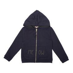 "Emile et Ida Soft Fur-Lined Zip-Up ""Meow"" Hooded Sweatshirt-product"