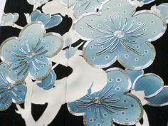 Japanese Kimono Silk Black Tomesode Embroidered Ume Flower P051139   eBay