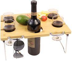 innostage Picknick Tisch Bambus, Wein und Snack tragbar klappbar Ständer für Strand Park oder Outdoor-Bett