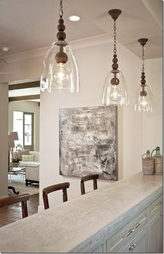 Kitchen Lighting Remodel Kitchen Pendants Lights Over Island - Foter - Kitchen Pendant Lighting, Kitchen Pendants, Kitchen Fixtures, Glass Pendants, Bar Pendant Lights, Glass Lights, Pendant Lamps, Hanging Pendants, Pinterest Design