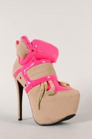 Privileged Swag Neon Trim Lace Up Velcro Stiletto Ankle Bootie