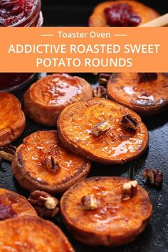 Addictive Roasted Sweet Potato Rounds seasoned with coconut oil, salt and cinnamon then roasted to caramelized perfection. Drizzle with maple syrup, roasted cranberries and toasted pecans for an irresistible Thanksgiving snack or side dish for two. Baked Sweet Potato Slices, Grilled Sweet Potatoes, Sweet Potato Cinnamon, Cooking Sweet Potatoes, Sweet Potato Recipes, Oven Cooking, Cooking Recipes, Diner Recipes, Cooking Tips