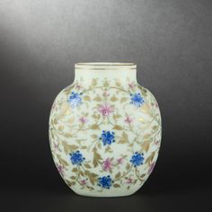 Flattened ovoid opaline glass vase - glassware more pictures on en.expertissim.com #BuyArtOnline