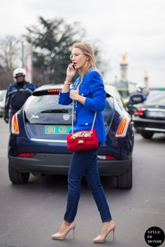 Paris Fashion Week FW 2014 Street Style: Xenia Sobchak‎