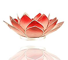 Lotus sfeerlicht roze/rood zilverrand - 13.5 cm - Online bestellen